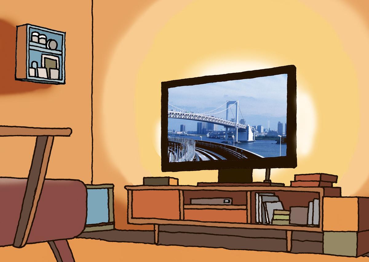 薄型テレビの背後に照明を光源が見えないように置く。