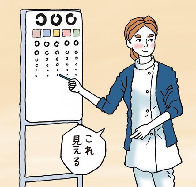 学校で視力測定