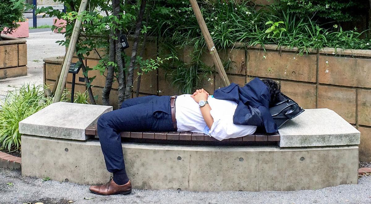 ベンチで昼寝
